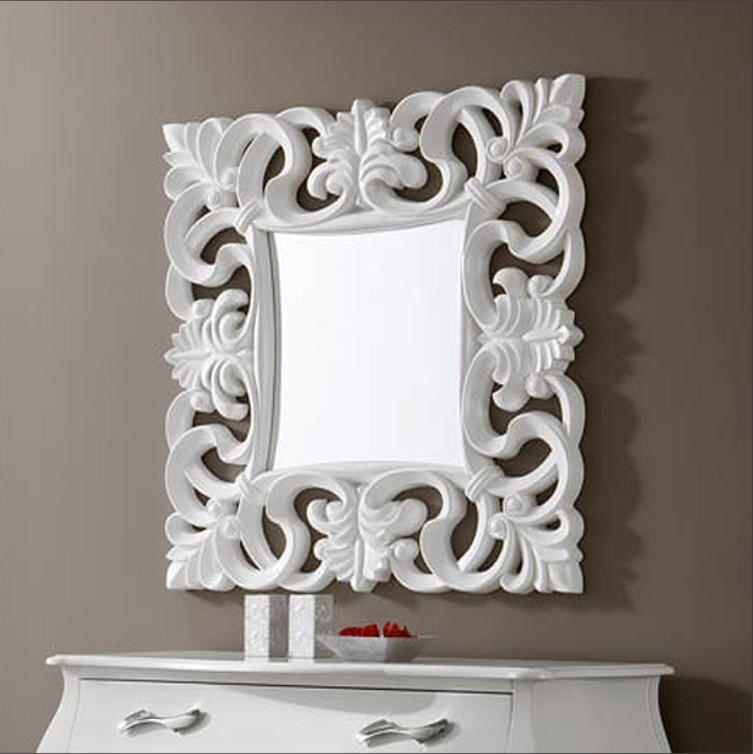 Espejo barroco cuadrado de resina acabado en color blanco for Espejos decorativos cuadrados
