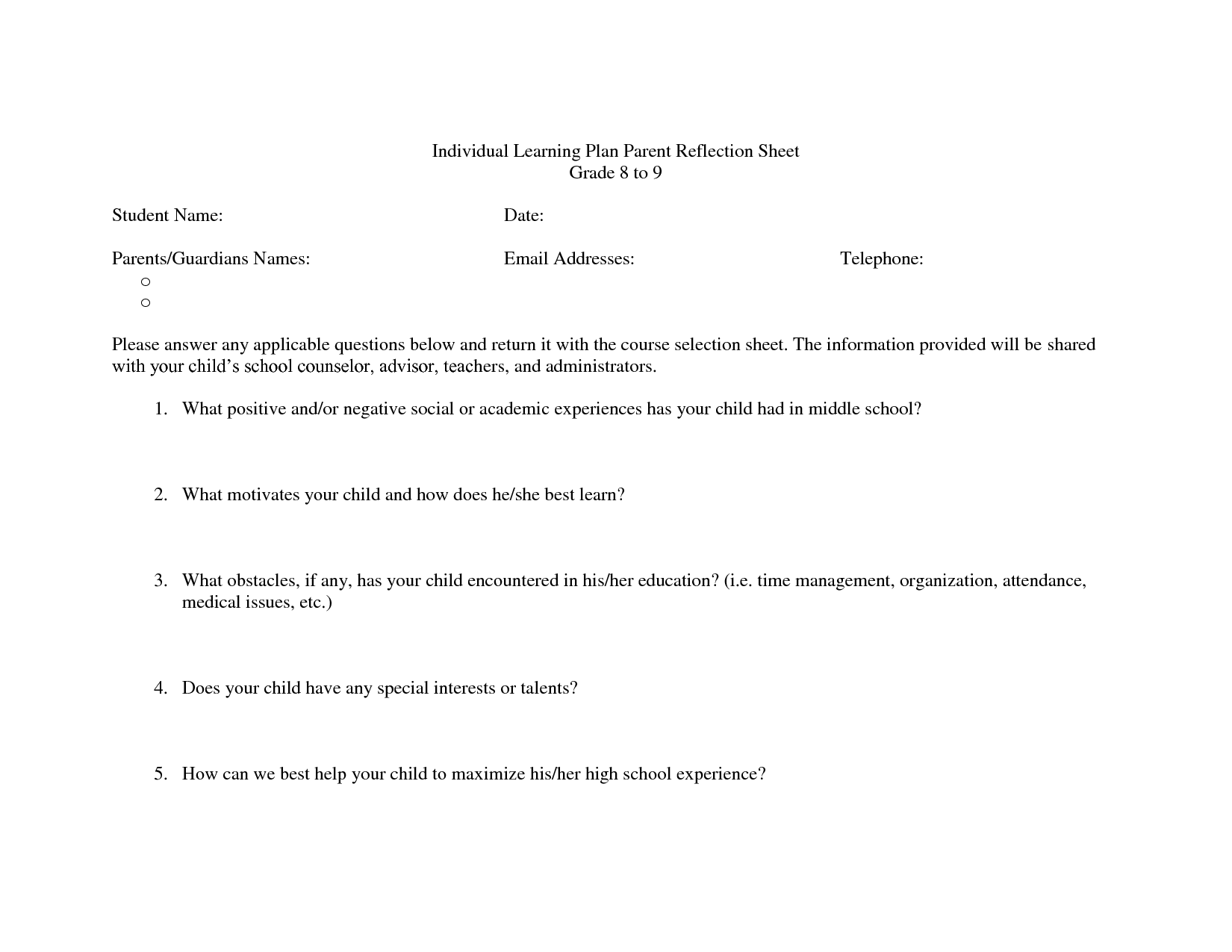 Student Success Plan Template