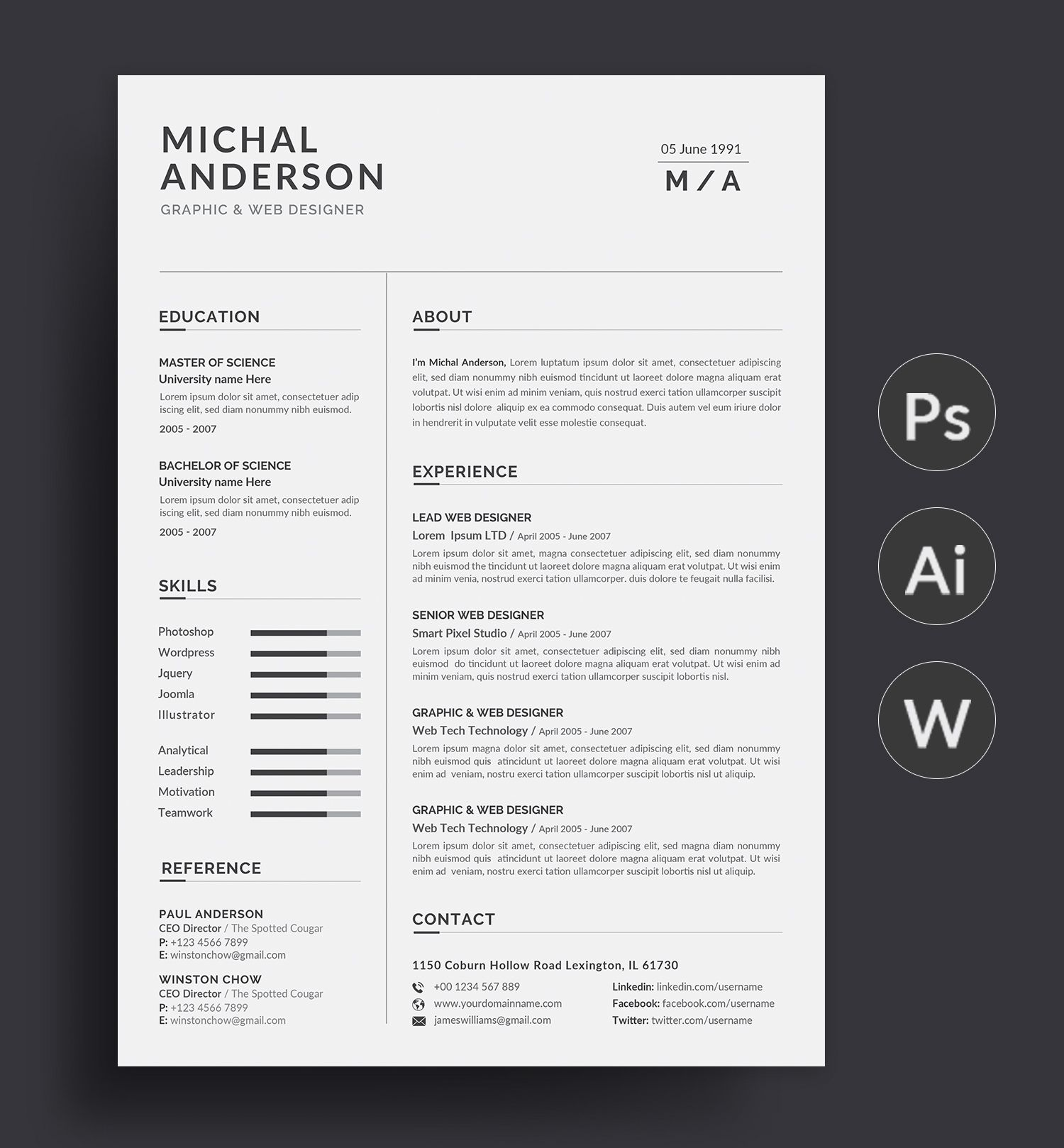Professional Resume Template Modern And Creative Resume