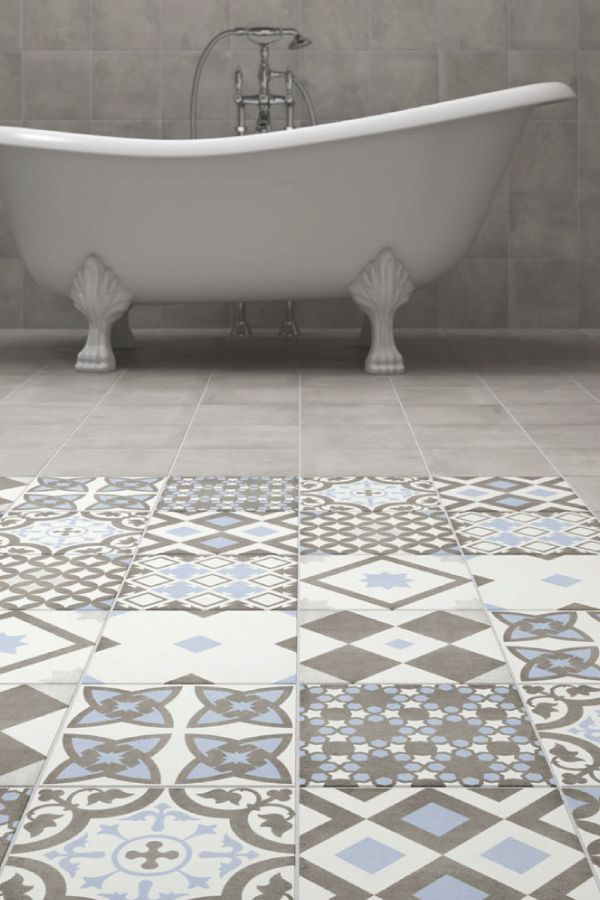 Shop The Vibe Light Blue Patterned Wall And Floor Tiles 223 X 223mm For A Striking Italian Style These Patterned Tiles Are Perfect For The Floor And Wall Tile Bathroom