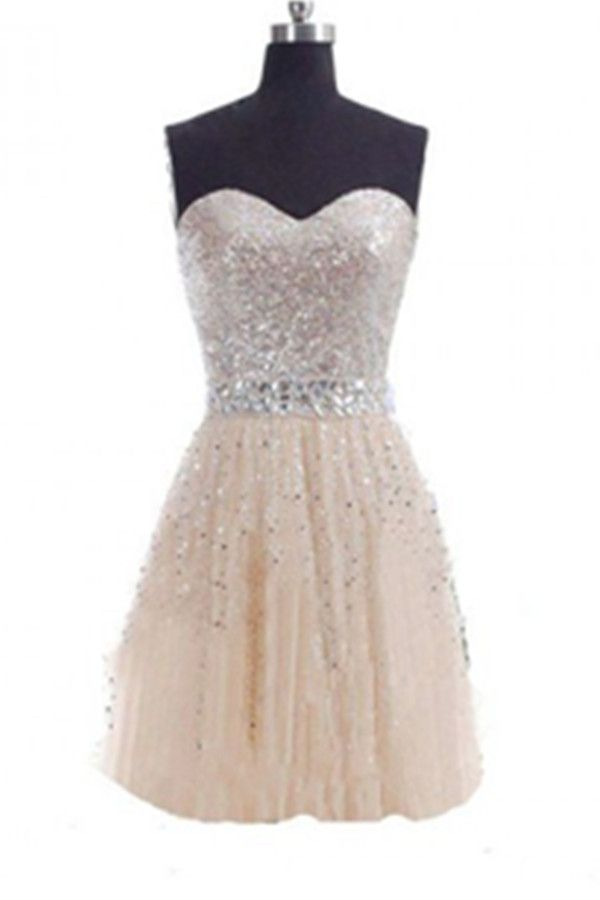 Sweetheart Sequin Shiny Tulle Handmade Short Homecoming Dresses K508