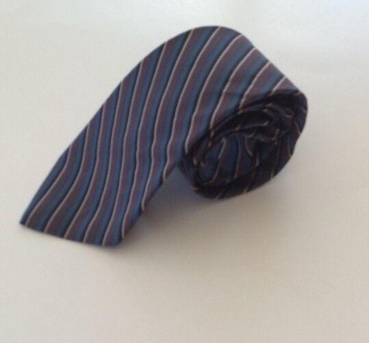 Van Heusen Neck Tie Purple Blue White Stripe Polyester Silk Blend #VanHeusen #NeckTie