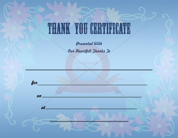 Thank You Certificate Template THANK YOU CERTIFICATE TEMPLATES - free printable certificate templates word