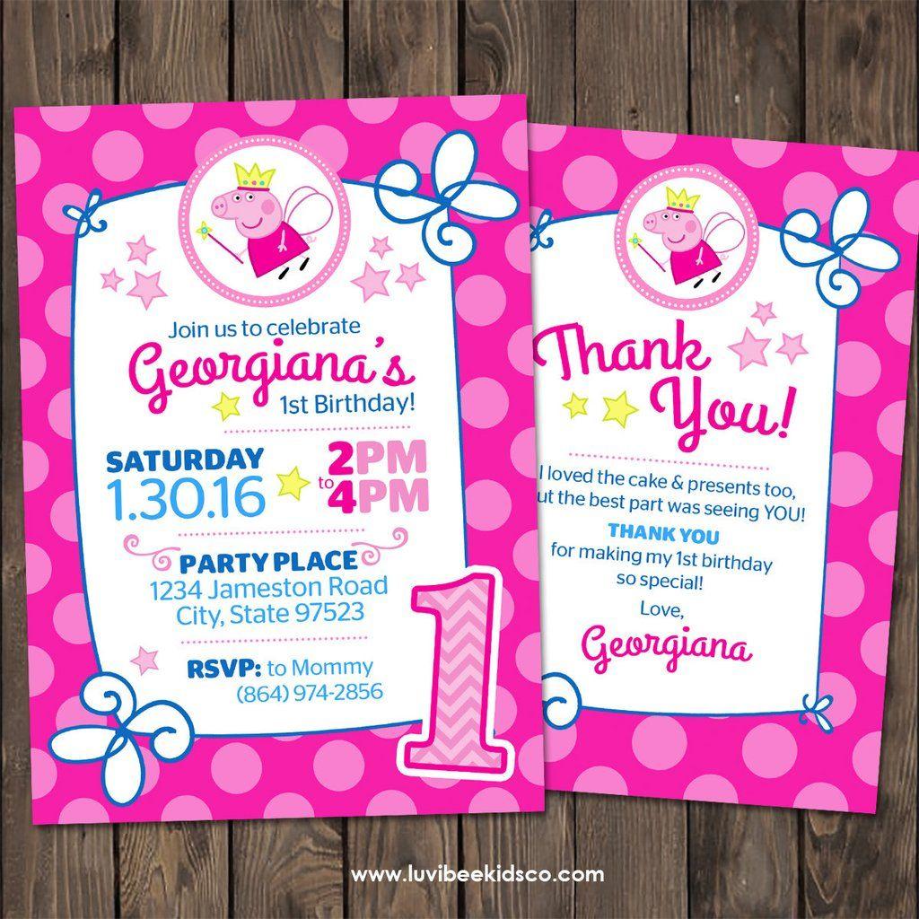 Peppa Pig Fairy Birthday Invitation | Free Backside & Thank You Card ...