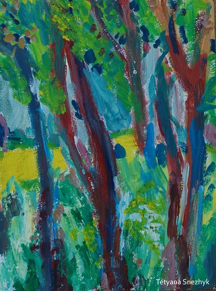 Trees at the field - Tetyana Snezhyk painting