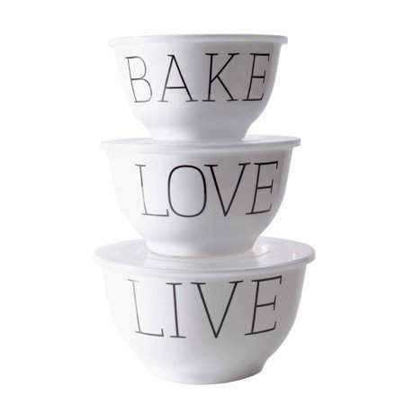 Mainstays Live Love Bake Melamine Mixing Bowl With Lids 6 Piece