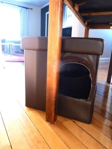 Superbe DIY Litter Box Cover. Made From Storage Ottoman/bench. Cut A Hole In The  Side As An Entrance.