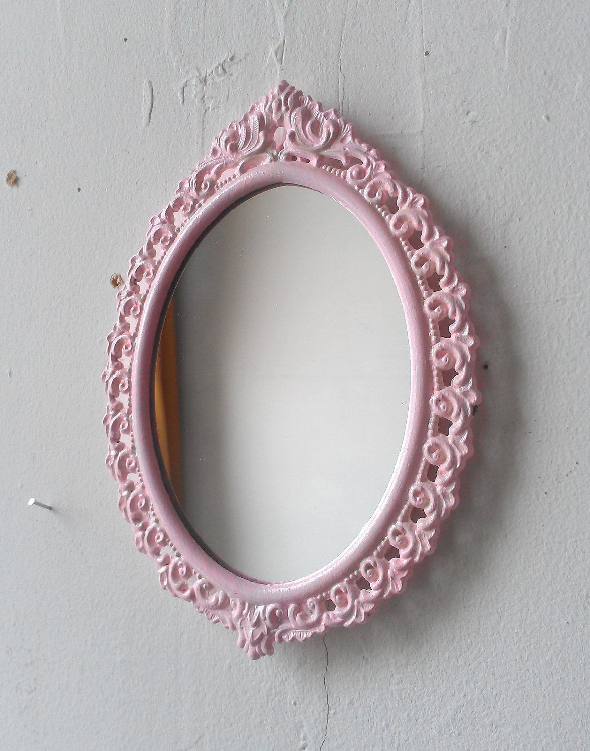 Pink Wall Mirror In Small Vintage Brass Oval Frame
