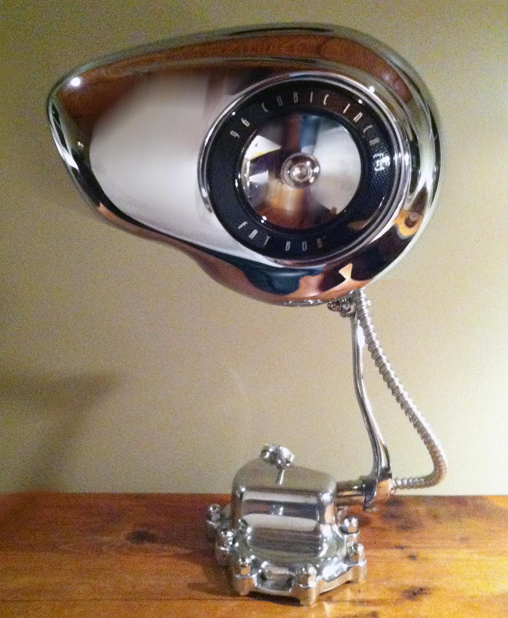 Price: $400 Gearhead Lamp The Base Is A Polished Harley Davidson  Transmission Cover, Attached