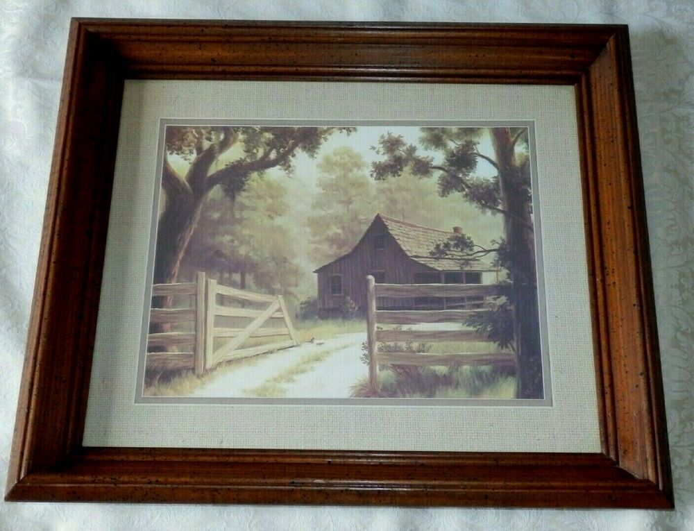 Vintage Homco Home Interiors Picture Old Barn In The Country W Wood Gate Fence Homco Old Barn Interior Pictures Wood Gate