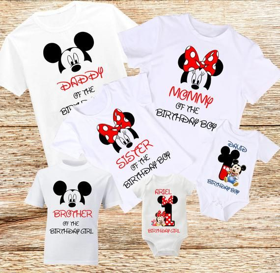 Birthday Family Shirts Disney Birthday Family T-Shirt Birthday Family Shirt Mickey Mouse Birthday T-Shirt Minnie Mouse Birthday Tee