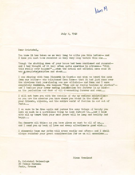 Letter To M Cristobal Balenciaga July    Grace Mirabella