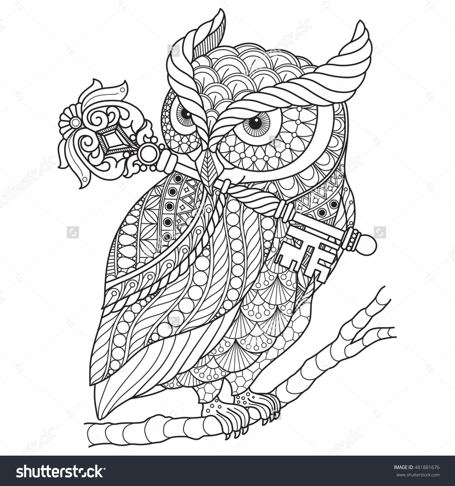 Hand drawn gorgeous Owl for color book for adult other decorations ...