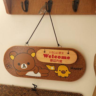 Rilakkuma easy bear super cute wooden doorplate door hanging list file storage cute …