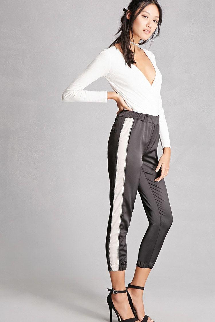 Contraststripe satin pants fashionista pinterest satin
