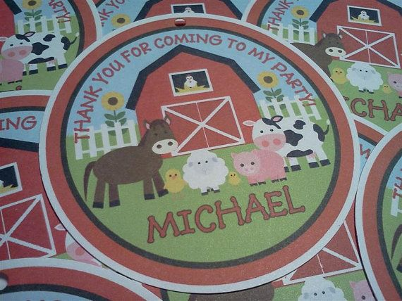 Personalized Farm Barn Animals 3 Favor Tags by PartyCelebrations, $5.50