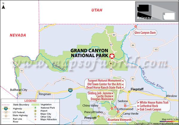 Grand Canyon National Park Arizona USA Facts Map Best Time - Grand canyon us map