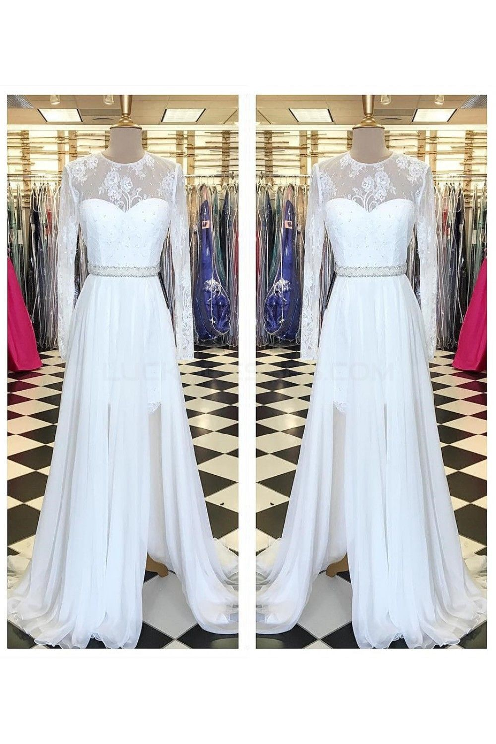 Long white beaded lace chiffon prom formal evening party dresses