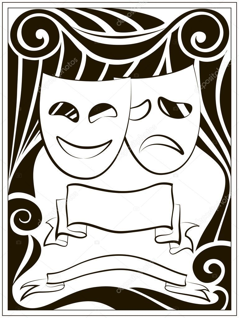 Download Royalty Free Abstract Black And White Background With Theater Masks And Banners Stock Vector 8079002 From Depos Theatre Masks Abstract Backgrounds Art
