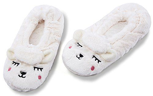e0ee4f9164e Womens Fuzzy Christmas Animal House Slippers Ladies Cute Bedroom Indoor  Knit Winter Slippers