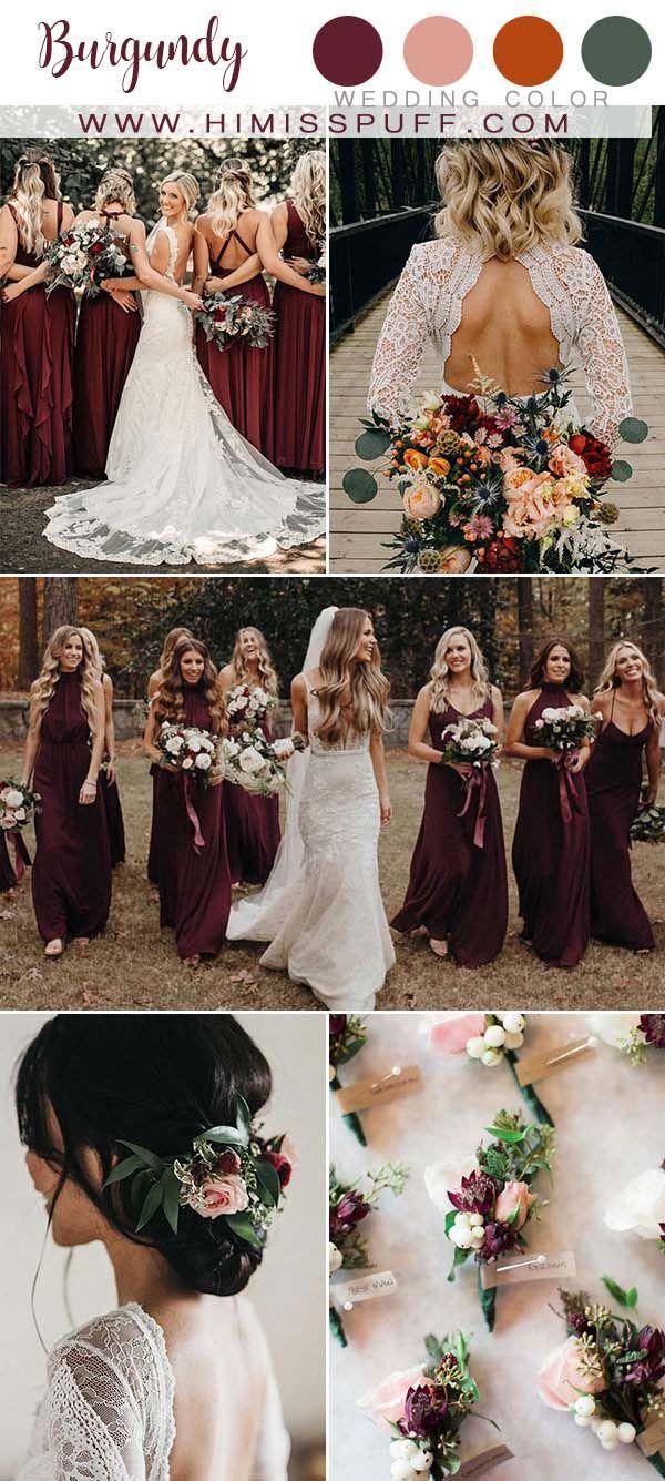 Top 10 Fall Wedding Color Ideas 2020 Burgundy wedding