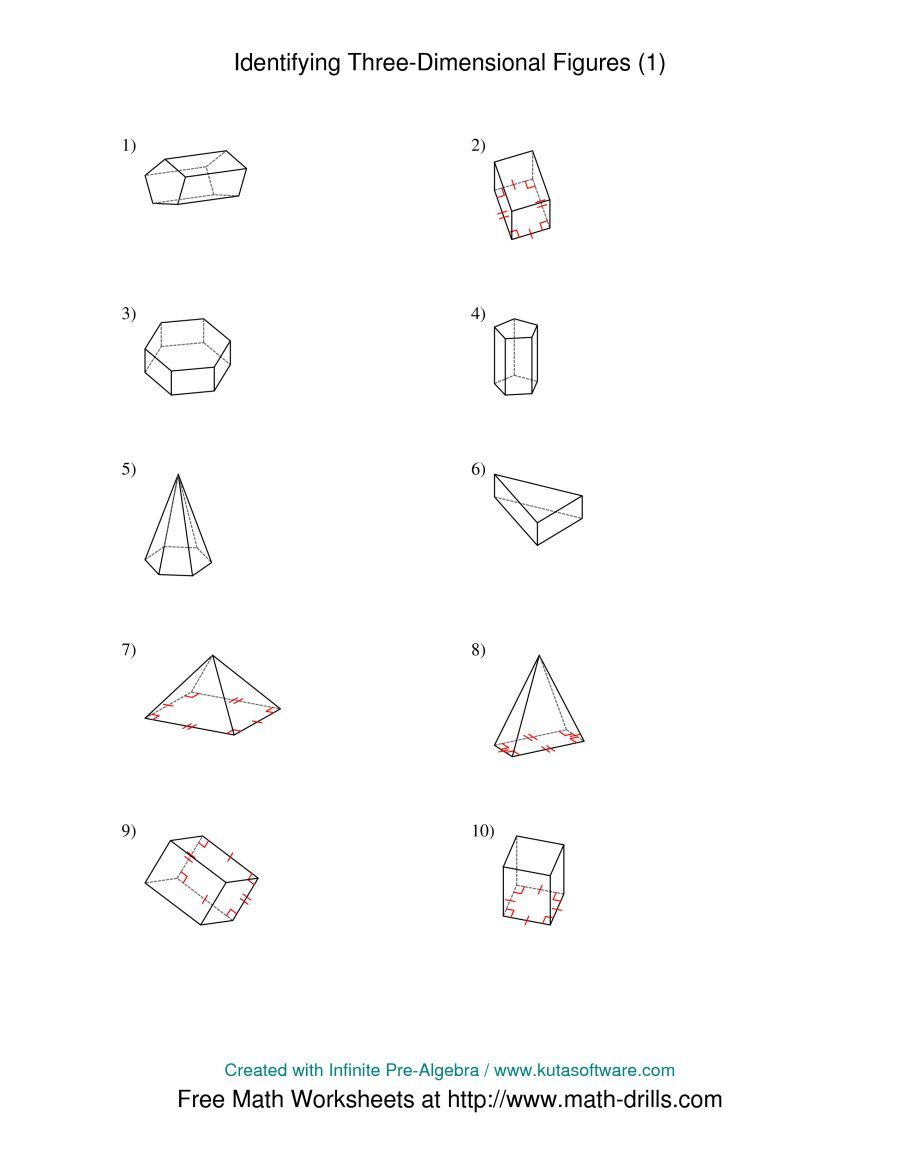 The Identifying Prisms And Pyramids A Math Worksheet From The Geometry Worksheets Page At Math Drills Com Geometry Worksheets Worksheets Worksheet Template