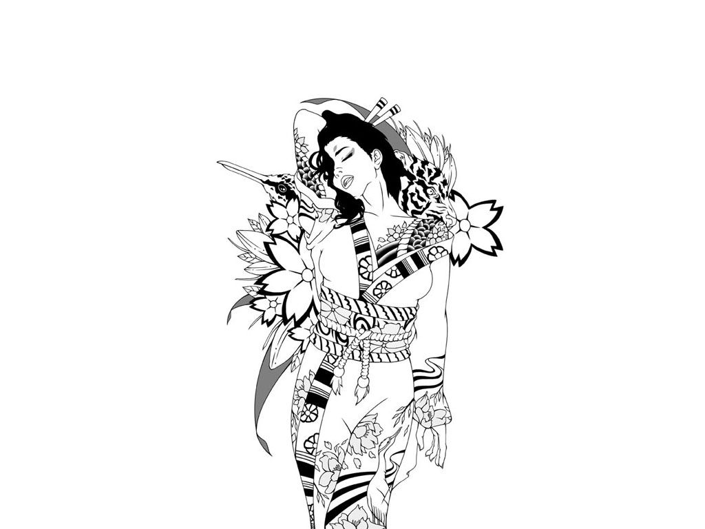 Free Designs Japanese Girl In Kimono Tattoo Wallpaper Geisha Tattoo Design Tattoo Girl Wallpaper Samurai Tattoo Design