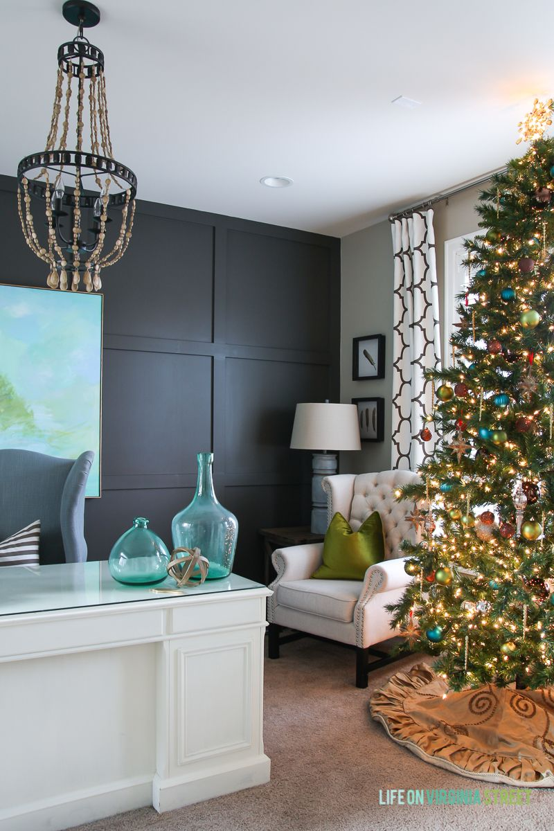 Blue Green And Metallic Christmas Decorations In A Home Office Wall Color Is Sherwin