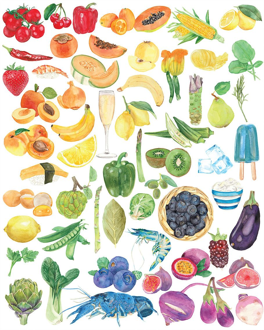 Watercolour Food Illustration In A Rainbow Ombre Pattern Food Art Ombre Art Food Illustratio Watercolor Food Illustration Food Illustration Art Watercolor Food