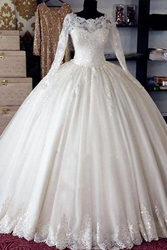 Vintage Long Sleeves Lace Ball Gown Bridal Gown Wedding Dresses Princess Bridal Dress N13 Ball Gowns Wedding Wedding Dress Long Sleeve Ball Gown Wedding Dress