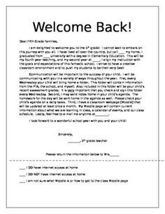 teacher welcome back letter