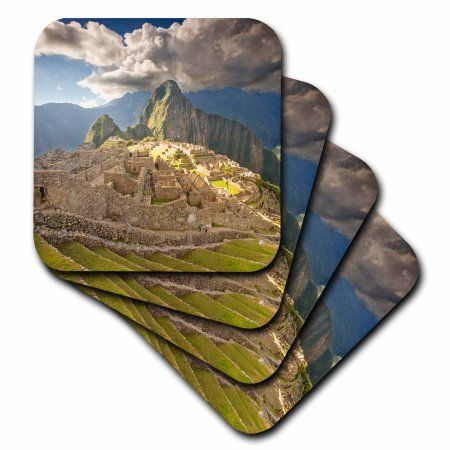 3dRose Machu Picchu, ancient ruins, Peru - SA17 HGA0029 - Howie Garber, Soft Coasters, set of 4