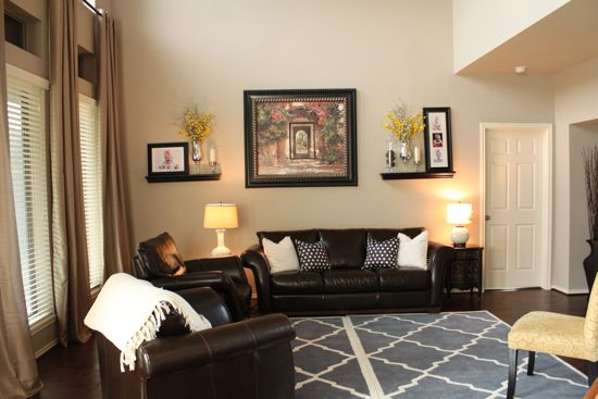 """""""greige"""" Wall Color With Dark Brown Furniture, Pillows"""