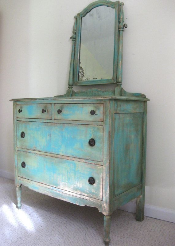 Painted Antique French Country Cottage Chic Shabby Distressed Aqua Turquoise Dresser And Mirror