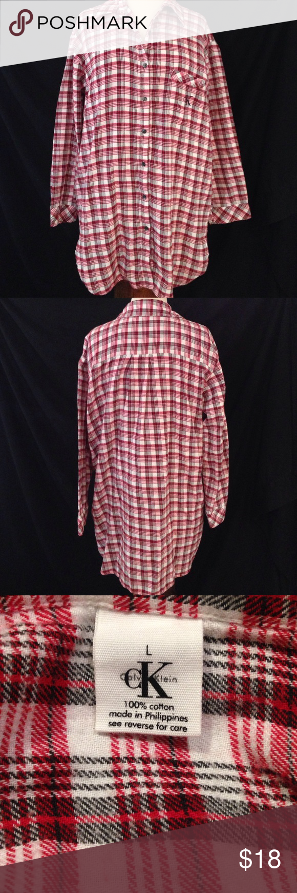 Calvin Klein Ladies Flannel Nightgown  Long lights Flannel shirts