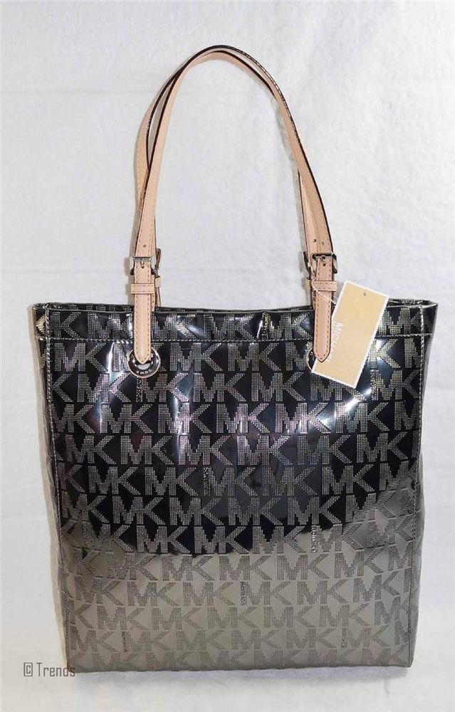 0ecd5f7711ed Micahel Kors Mirror Metallic NS Tote Nickel Dark Silver Nwt Auth New Bag   228  MichaelKors