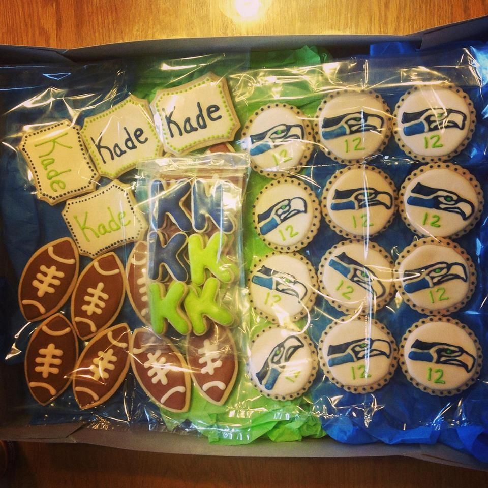 Seahawks cookies I made for a baby shower