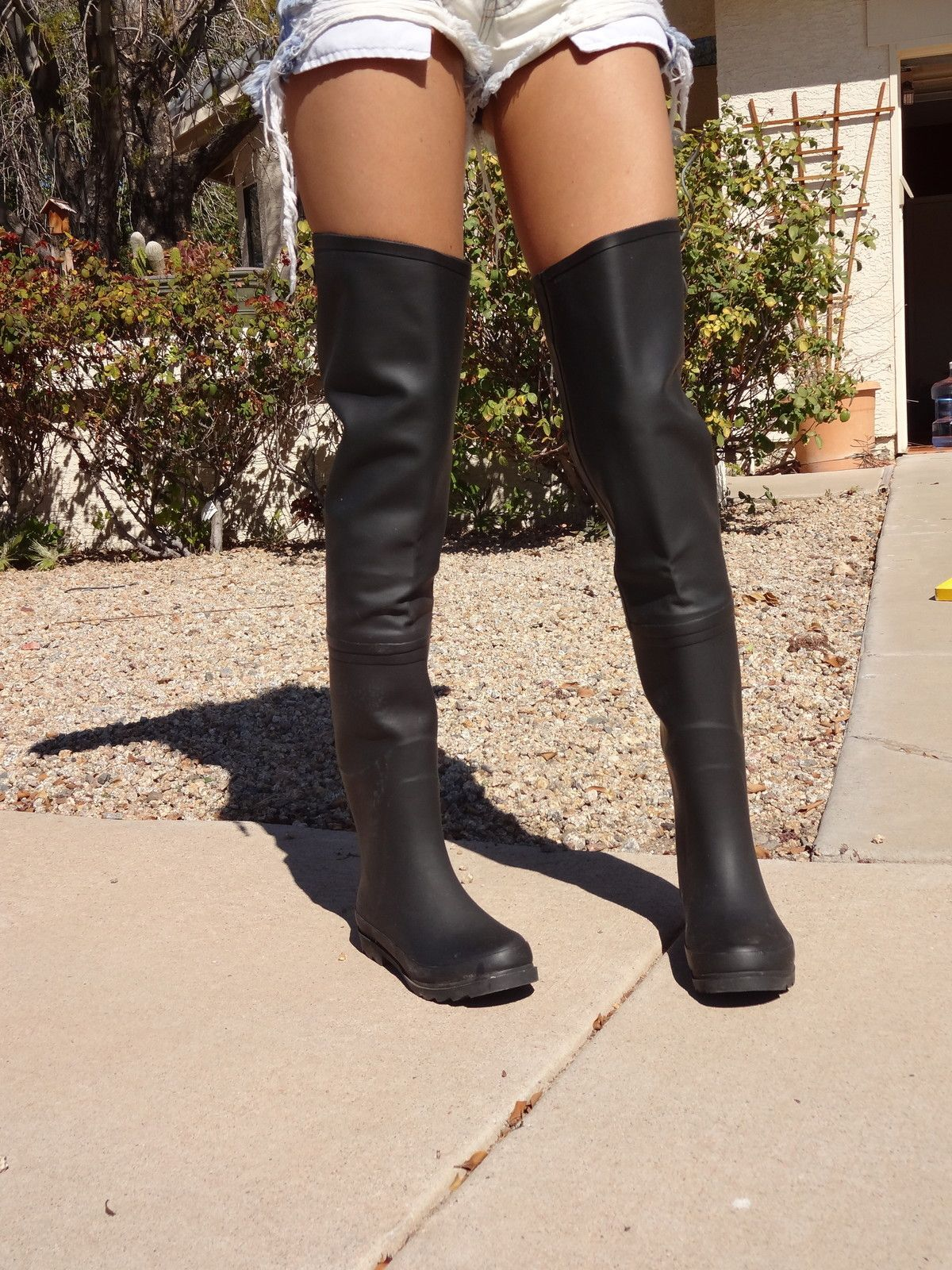 Jeffrey Campbell Over the Knee black thigh high rain boots | OTK ...