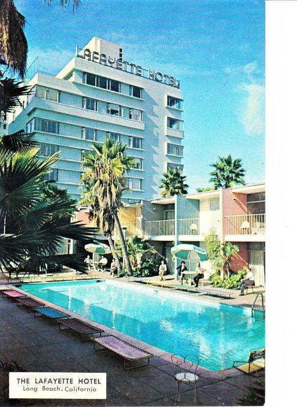 50s Lafayette Hotel Long Beach CA Postcard Pool Scene Mid