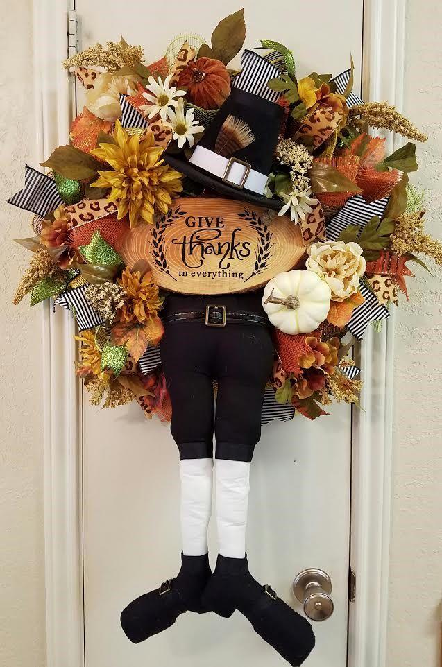 pilgrim wreath thanksgiving wreath fall wreath pilgrim decor pumpkin wreath