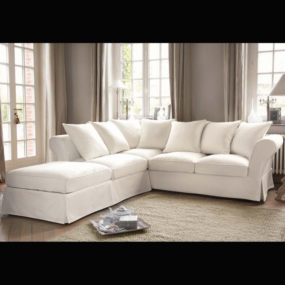 canap d 39 angle 6 places en coton ivoire maison du monde le monde et monde. Black Bedroom Furniture Sets. Home Design Ideas