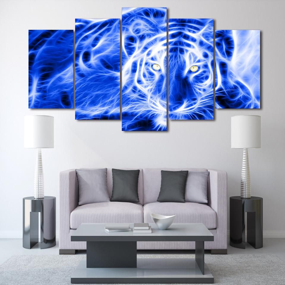 Leopard electric neon abstract piece wall art print on canvas
