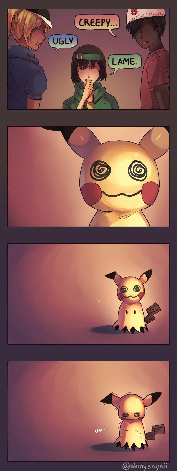 Mimikyu, sad, crying, comic, Trainers, ugly, creepy, lame, text; Pokémon