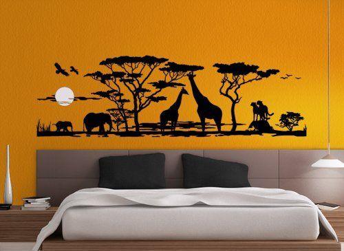 Grandora® W683 Wandtattoo Afrika Savanne Tiere Wohnzimmer   - amazon wandbilder wohnzimmer