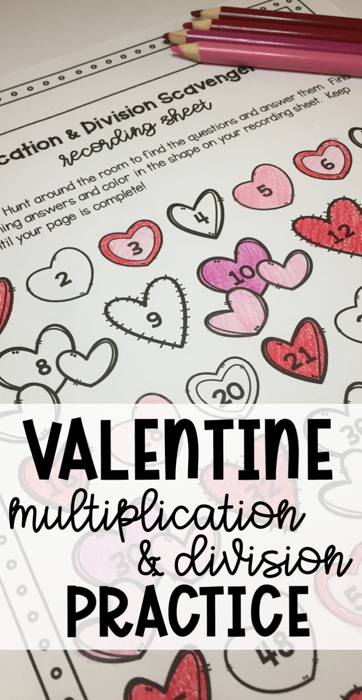 Valentine\'s Day Multiplication and Division Scavenger Hunt   Fun ...
