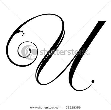 Letter U Script Stock Vector Lettering Letter U Ink Lettering