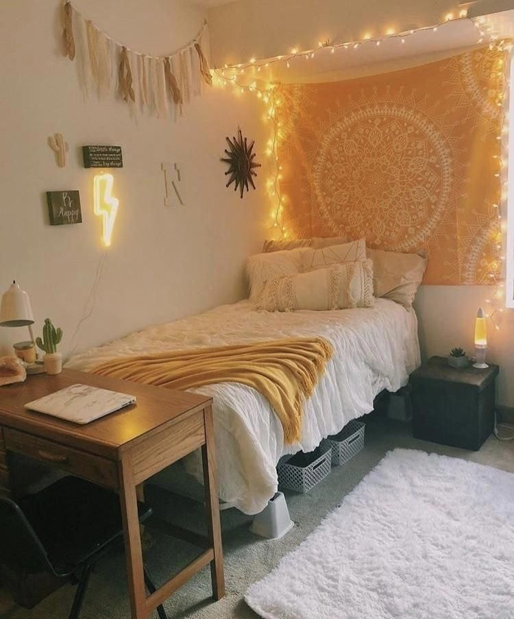 Yellow Floral Tapestry Dorm Room Decor Aesthetic Bedroom Cute Dorm Rooms