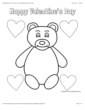 Valentine\'s Day coloring page with a cute teddy bear and four hearts ...