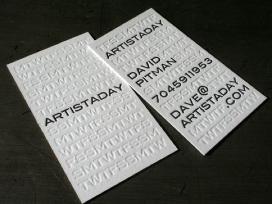 Creative business card designs logovisual identity pinterest this stunning letterpress business card was designed by 485 inc for an arts group called artistaday a website that has a daily fine artist featured reheart Gallery