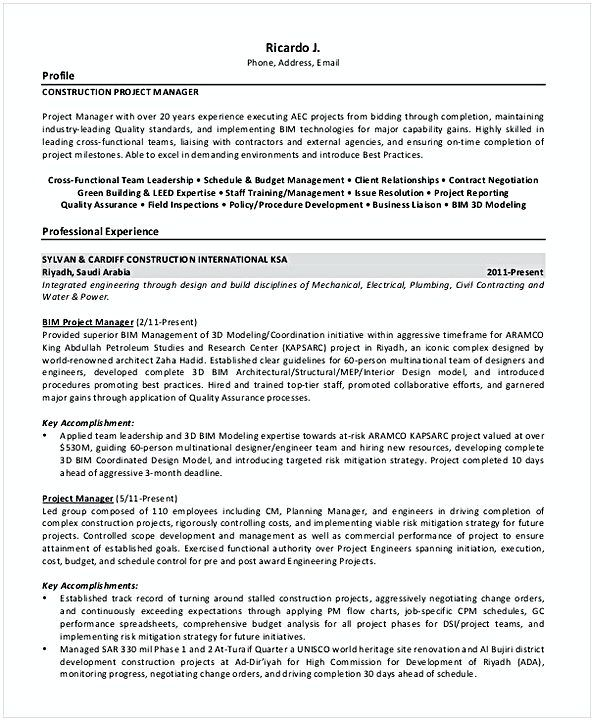 Construction Project Manager Resume 1 , Resume for Manager Position ...